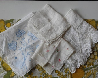 Vintage White Handkerchief Lot - 4