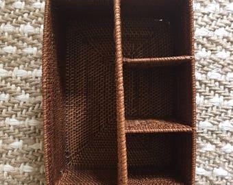 Vintage wicker utensil holder