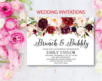 Brunch and Bubbly, Floral Bridal Shower Invitation, Bridal Brunch, Instant Download, Flower Bridal Card, Boho Bridal Brunch, Printable  BB06