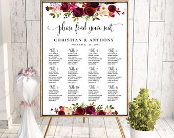 Wedding seating chart template, Poster wedding seating chart, Wedding Table seating chart, Boho wedding seating chart, Find Your Seat, SC91