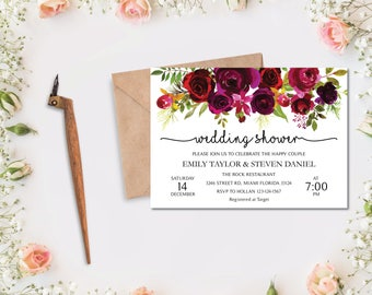 Wedding Shower Invitation, Fall Floral Bridal Shower Card, Couples Shower Invite, Editable Card Instant Download, Wedding Shower PDF #04