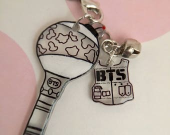 BTS Mini Light Stick and Logo Keychain Set / Kpop Phone Strap, Miniature, ARMY Fan Merch, Accessory, Black, White and Clear