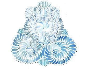 Watercolor Blue Swirl Print
