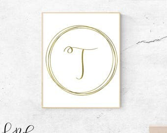 Letter T, gold, monogram, letter, initial, instant download, gold poster, printable art, wall art, gold monogram