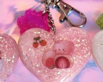 Molang Chocolate Strawberry Key Chain