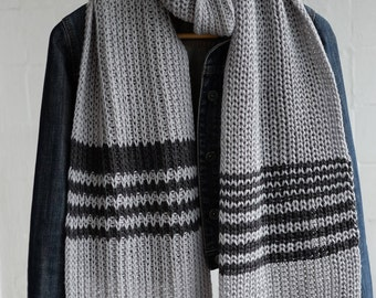 long gray hand knitted scarf for men, hand knitted scarf for men, perfect gift for him