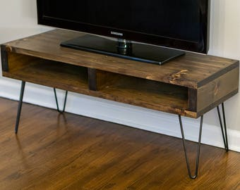 Pallet Inspired TV Stand Entertainment Center Media Console - Modern Rustic Mid Century - Dark Walnut