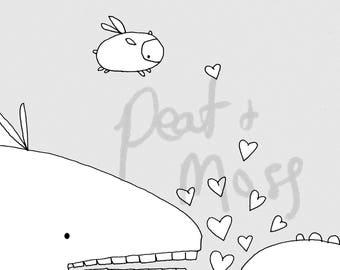 Whimsical illustration, original line art, adult coloring book sheets, printable coloring pages, digital download