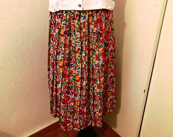 Pleated floral print summer skirt / 70 S