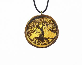 "Soul slices ""Tree of Life 2"" wood necklace vintage * Ethno * hippie * MUST have * statement *"