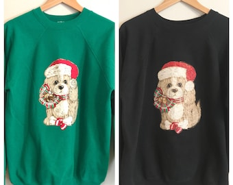 Couples Christmas Sweaters SET Of TWO Ugly Christmas Crewneck Sweatshirts Ugly Sweater Party Holiday Dog Sweater Size XL