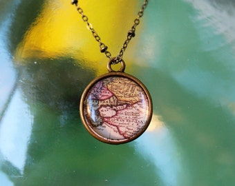 Vintage Map Double Sided Petite Pendant Necklace