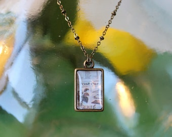 Vintage Post Card Double Sided Petite Pendant Necklace