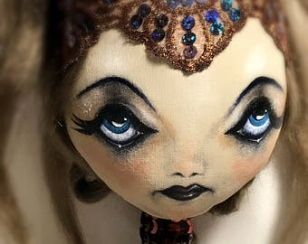 SEREPHINE *Qwirk Circus* Cloth Fantasy Art Doll OOAK  Long Neck Dusky Rose Pink/Bronze Sequins/Lace/Beads/Feathers HAUNTINGLY Beautiful