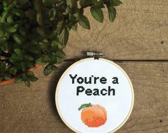 You're a Peach Cross Stitch Pattern