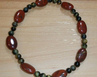 Red Jasper and Tiger Iron Stretch Bracelet