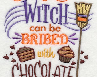This Witch Can Be Bribed With Chocolate, Embroidered Dish Towel, Halloween Tea Towel, Fun Halloween Kitchen Decoration, Hand Towel