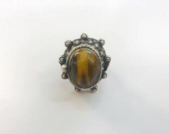 The Vintage Sterling Silver Tiger Eye Secret Poison Ring