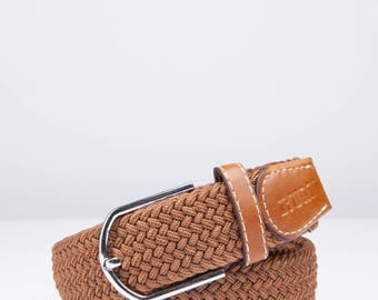 Rumi Men's Braided One-Size Fits-All Belt - Camel Brown