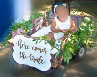 Here comes the bride, Ring bearer sign, flower girl sign, custom bride sign, here comes your bride, custom ceremony sign, custom wood sign