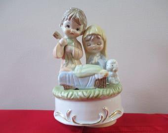 Vintage Nativity Music Box, Nativity Music Box, Christmas Music Box, Joseph Mary Baby Jesus Music Box,