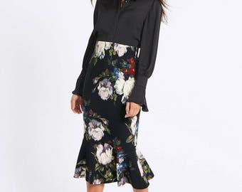Floral Print Fishtail Midi Skirt