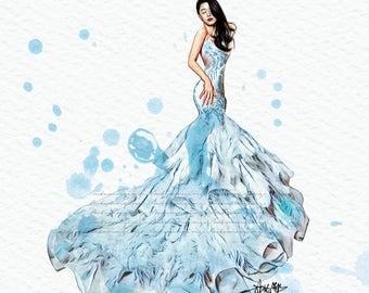 Mermaid Fashion Print (LegendoftheBlueSea Fashion Illustration) (JunJiHyun Fashion Illustration)