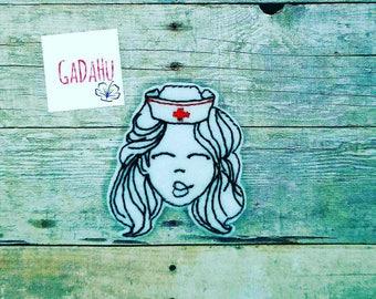 Cute Nurse Face feltie. Embroidery Design 4x4 hoop Instant Download. Felties. Medical feltie