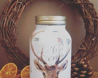 Hand Decorated Stag Mason Kilner Jar