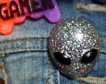 Super Holographic Magic Alien Glitter Resin Pin