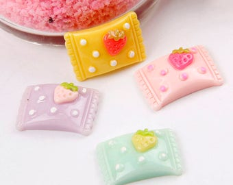 50pcs Resin Cabochons, Candy cabochons, Candy bag charms, Flat back lolly cabochons, cute charms, kawaii resin charms