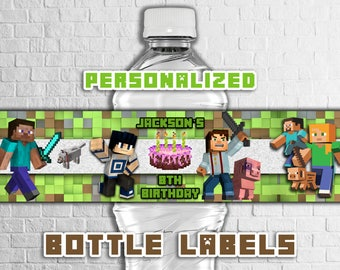 MINECRAFT BOTTLE LABELS,Minecraft birthday party decoration ideas,Minecraft party bottle label printables,personalized bottle labels diy