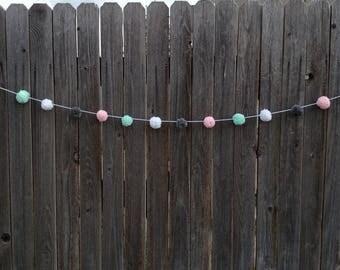 Mint, White, Grey and Pink Pom Pom Garland