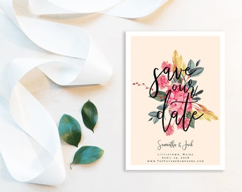 Blush Floral Save the Date Printable