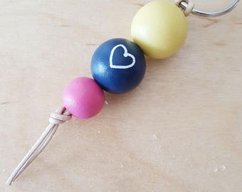 Gift for her, handmade gift, colourful keychain, bag accessories, Easter gift, beaded keychain, heart keychain, pink blue and yellow