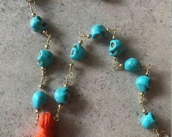 Skull Beaded Necklace with Orange Tassel