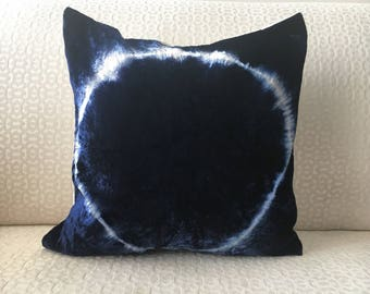 Shibori Velvet pillow cover, Navy Blue throw pillow cover 16x16 18x18 20x20 26x26, Shibori Pillow case, Shibori Pillow sham