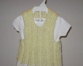 Hand- Knit Baby Boy Cardigan Vest and Beanie
