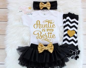Auntie's Bestie, Auntie Is My Bestie, Baby Shower Gift, Newborn Baby Girl Outfit, Baby Girl Clothes, My Aunt Is the Best, Auntie's Mini G10B