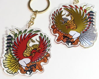 """Ho-oh 2.75"""" Acrylic Charm, Double-Sided with Single Sided Gold and Silver Foil"""