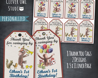 Curious George Thank You Tags, Curious George Tags, Curious George Party, Classic Curious George, Favor Tags, Printables, Personalized