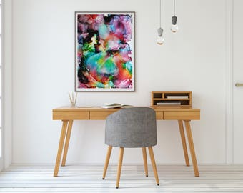 Modern Abstract Painting, Giclee Print, Unframed, Rainbow Painting, Wall Art