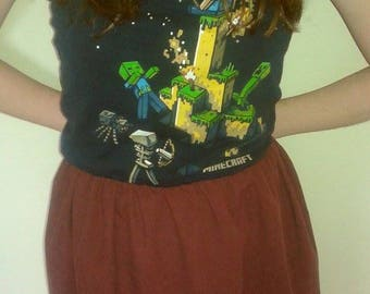 Gamer girl chic, Minecraft gamer girl, Minecraft strapless dress, Minecraft dress, geek chic, strapless sundress, Minecraft
