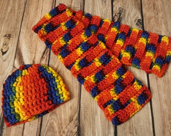 Chunky Rainbow Hat and Scarf Set