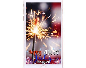 CUSTOMIZABLE 4th of July Geofilter - Red White and Blue, Fireworks, Stars