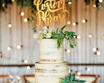 Personalized Wedding Cake Topper, Wedding Cake Topper, Wedding Decoration, Personalized Cake, Cake Toppers, Custom Phrase Topper