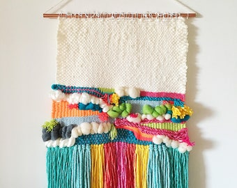 Weaving // Woven Wall Hanging // Home Decor // Bright and White Monster Wall Weaving