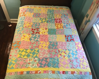 Girly Girl Quilt: one-of-a-kind quilt made with the Milk, Sugar & Flower fabric collection by Penny Rose Fabrics
