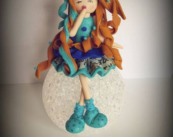 Night blue cold porcelain doll