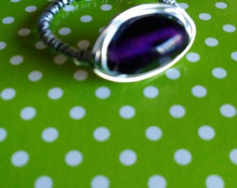 purple and silver wire wrapped ring